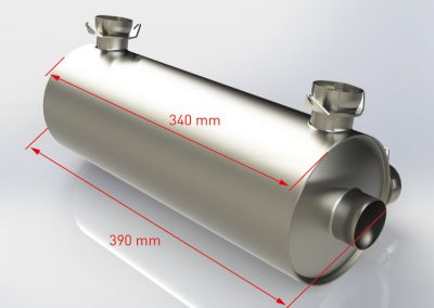 Side-outlet muffler dimensions