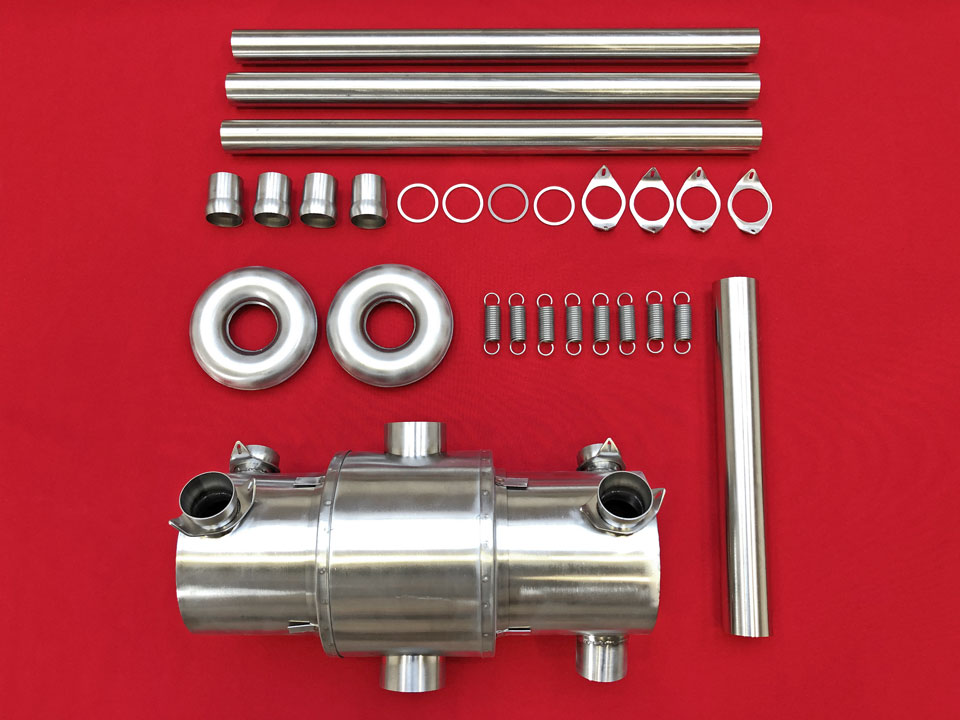 Exhaust kit: Bottom-outlet muffler with heating shroud