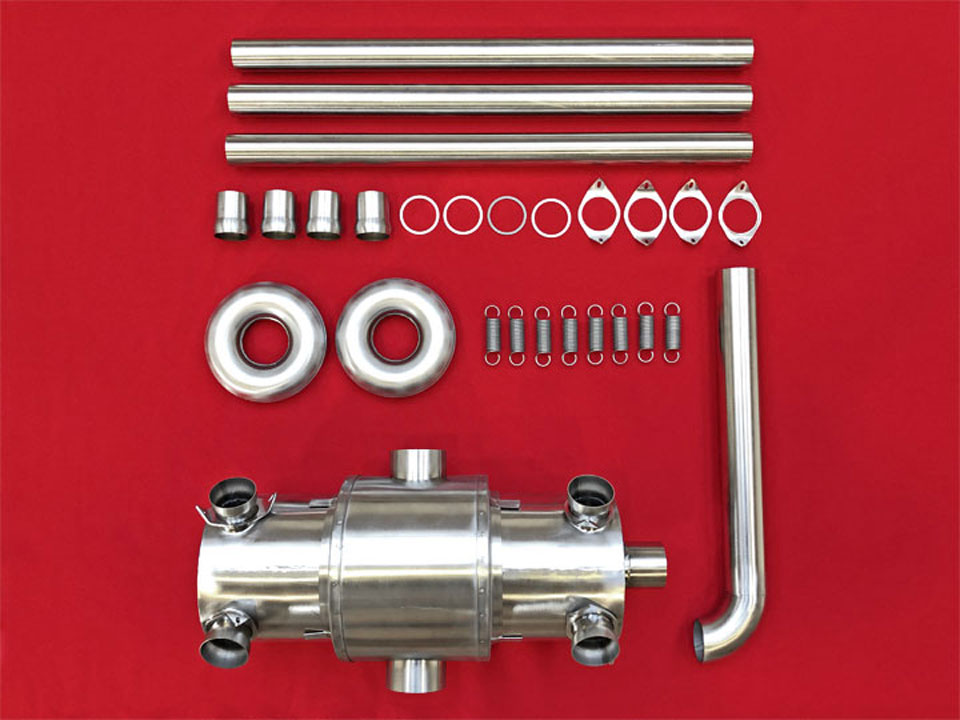 Exhaust kit: Side-outlet muffler with heating shroud
